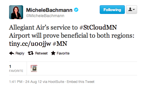 From the article Bachmann tweeted:  The $6.1 million in travel commitments the GSDC sought this year from local businesses remains set aside to bring in service to Chicago. So does a $750,000 grant from the Small Community Air Service Development program, a part of the U.S. Department of Transportation, and the efforts of local counties, cities and other entities that have pushed to about $1 million the amount that can be used as a guarantee for service.  YAY Government spending!!