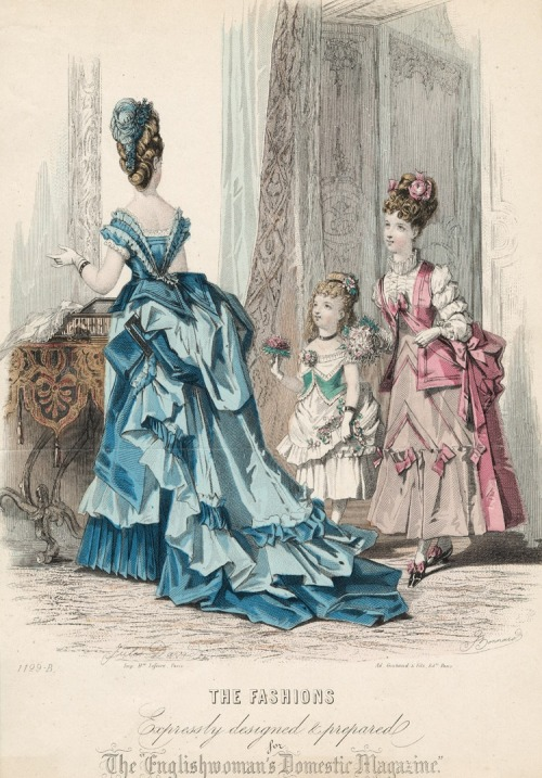 March fashions for women, girls and young teens or preteens, 1874 England, The Englishwoman's Domestic Magazine