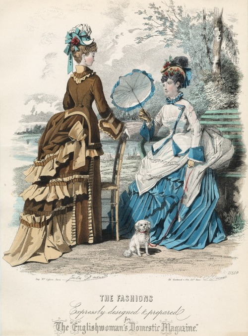 Fashion plate, 1874 England, The Englishwoman's Domestic Magazine