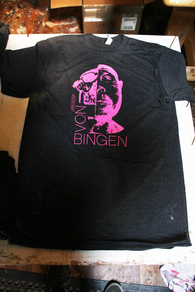 ladoublure:  pinholeprinting:  von bingen shirts  WE NOW HAVE VON BINGEN T-SHIRTS!  What's the shipping on that?