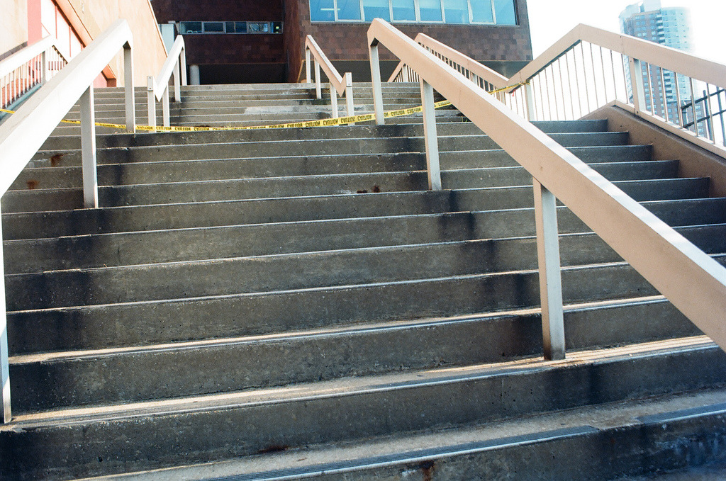 Stairs  Nikon F3 | Ektar 100, Pushed to 400  West Side Highway, Manhattan, NY