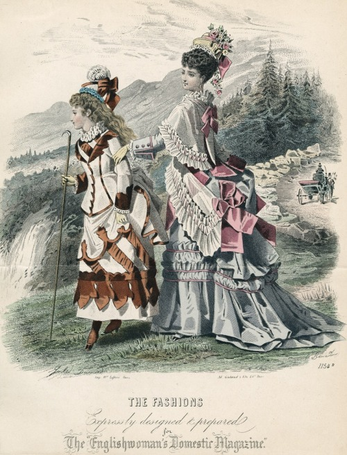 September fashions for women and younger teens, 1874 England, The Englishwoman's Domestic Magazine