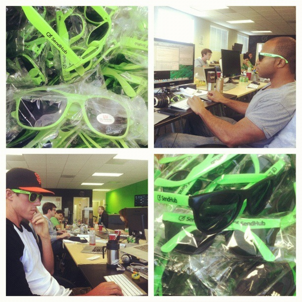 SendHub got sunglass'd :-) New shwag for everyone… want a pair?