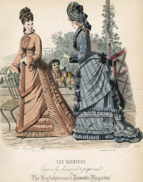 "oldrags:  September fashions, 1875 England, The Englishwoman's Domestic Magazine ""You drew eyebrows on the monkey?  That's not funny, Horace.  Come up here so I can kick your ass.""    not an umbrella"
