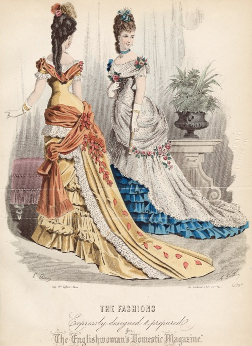 January ballgowns, 1876 England, The Englishwoman's Domestic Magazine