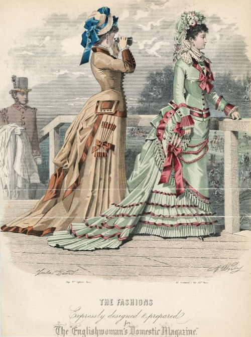 May promenade fashions with parasol pockets, 1876 England, The Englishwoman's Domestic Magazine