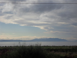 The Isle of Arran viewed from the train from Glasgow down the west coast. We were about level with Prestwick when I took this picture.