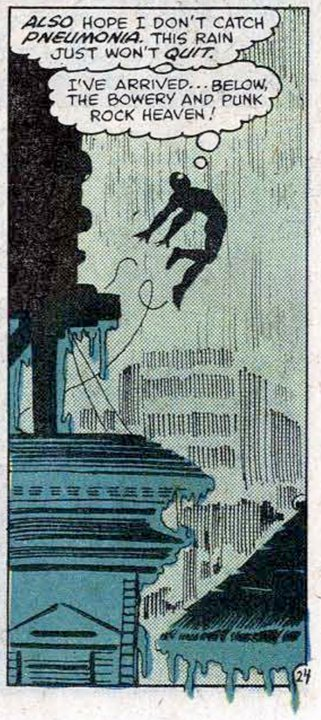 "seanhowe:  Amazing Spider-Man Annual #14 (1980). Art by Frank Miller; Words by Denny O'Neil. Miller took storytelling advice from Jim Shooter; they'd get drinks and talk about Matt Murdock's character and motivations. When Denny O'Neil took over the editorial reins of Daredevil, he, too, took Miller under his wing. ""He was one of the best students I ever had,"" O'Neil said. ""We would play volleyball on Sunday afternoons, and when everybody would walk to Nathan's for hot dogs afterward, he'd ask me questions about my work. He became like a second son."" They shared meals two or three times a week, picking apart stories and discussing their craft. O'Neil hired Miller to draw an Amazing Spider-Man annual, and together they plotted a story in which Spider-Man, looking for Doctor Strange, found himself at a punk-rock show at the Bowery club C.B.G.B. It was a perfect introduction to Frank Miller's aesthetic: while the rest of Marvel's heroes were still lingering at stale discos, Miller ripped it up and started again, with a stripped-down vocabulary and a throwback to the grit, violence, and threat of the early 1950s."