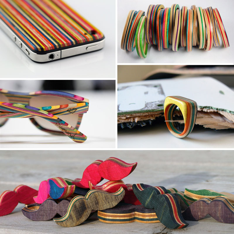 Can you believe all of these colorful items were made from recycled skateboards? So cool!