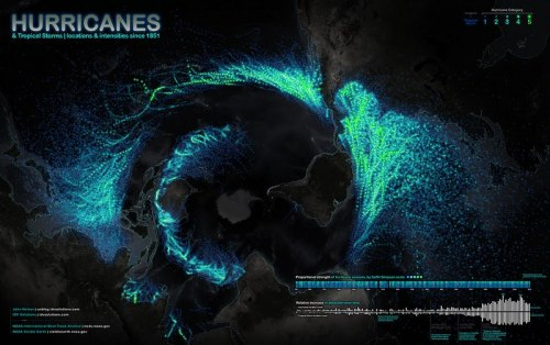 little-spaces:  150 years of hurricane paths at-a-glance. Read more about this map by clicking here.