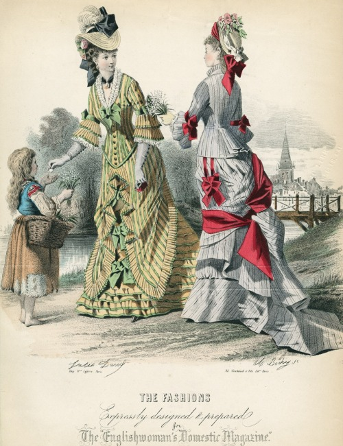 June fashions, 1876 England, The Englishwoman's Domestic Magazine I know the girl probably isn't supposed to be one of the main subjects here, but I've gotten quite a few questions about street children so I'll tag her anyway.