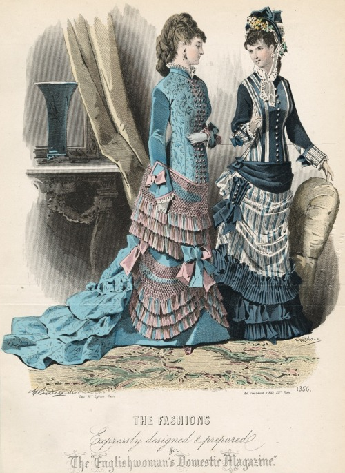 October fashions, 1876 England, The Englishwoman's Domestic Magazine Another parasol pocket!