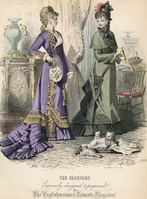 November fashions, 1876 England, The Englishwoman's Domestic Magazine Parasol pockets and kitties!