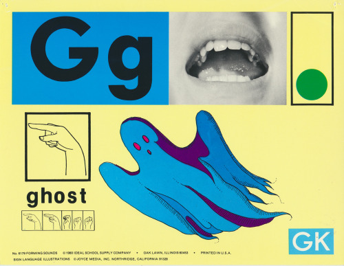 """Ghost"" from a set of Forming Sounds phonic cards, produced by the Ideal School Supply Company in Oak Lawn, IL in 1980. More here."