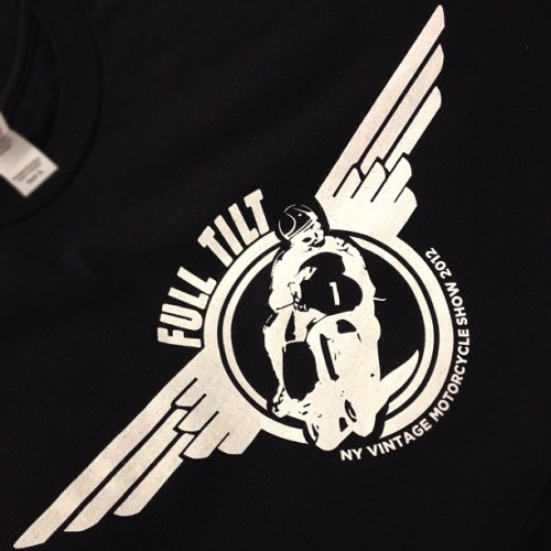 Some new tees for the 2012 vintage motorcycle show this weekend. It's always a good time, come out! #Fulltilt #vinmoto #matchless  (Taken with Instagram at Pete's Print Shop)
