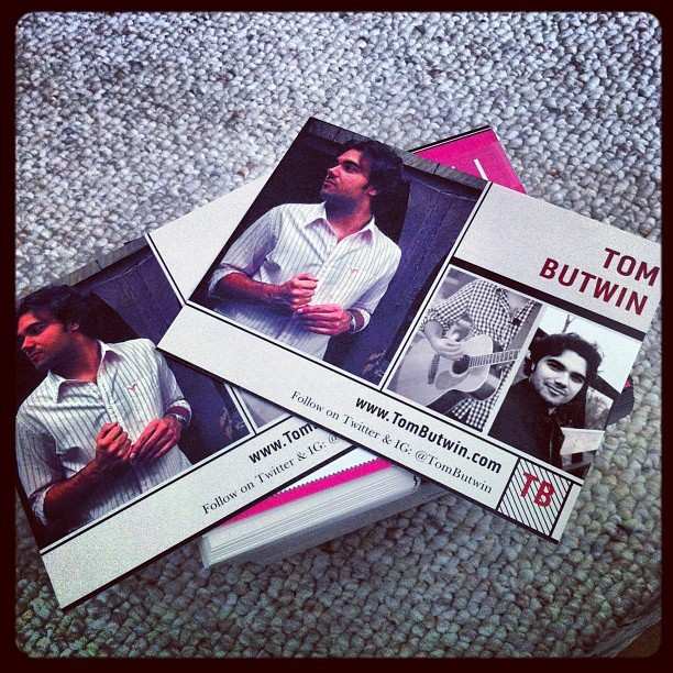 Got some new promo materials. #tombutwin #music #vistaprint #postcards #artsbeatsandeats (Taken with Instagram)
