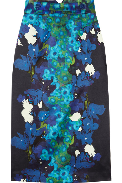 Erdem - Dinah printed silk-satin pencil skirt