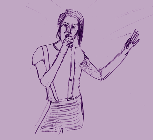 diaxdraw:  A Davey Havok sketch!  This was based on a still from a performance they did forever and ever ago during the Decemberunderground campaign.  arts arts look at my arts