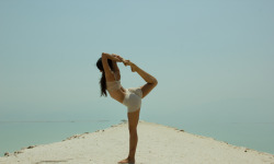 yogafe:  NATARAJASANA - dancing shiva Teaches balance Strengthens legs Builds stamina Opens chest/heart Opens shoulders Strengthens and promotes the health of the spine pic taken in dead sea by mosh benjamin