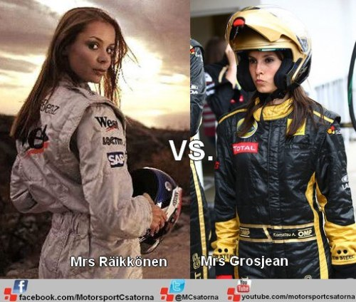 F1 Ladies in overall. Mrs Räikkönen vs. Mrs. Grosjean