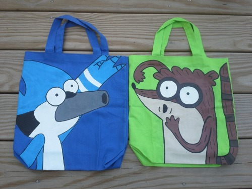 New! Mordecai and Rigby tote bags available on my Etsy shop.  https://www.etsy.com/listing/107704441/regular-show-hand-painted-mordecai-tote  https://www.etsy.com/listing/107704259/regular-show-hand-painted-rigby-tote-bag  Check out my Etsy shop! I currently have Adventure Time and Regular Show tote bags up for sale, although I am very much open to suggestions. I would appreciate any sales, as I am currently a bit short on cash and I do have my wonderful girlfriend's birthday coming up (and a bunch of other financial crap that snuck up on me).   Tumblr exclusive discount! Free shipping on all orders shipped to a US address. (I will ship overseas too, just message me and I'll find out the rates for you.) Use coupon code: SHIPFREEFORME(Yes, I'm aware I'm very creative.)  Thanks in advance! :] -Ian