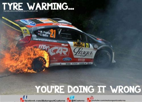 Tyre warming - WRC style  -Fiona is on fire