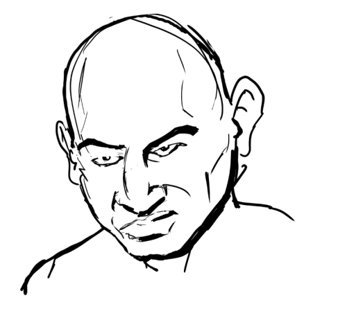 Digital under-drawing, panel detail: BARON von RASCHKE