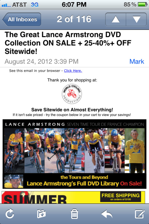 Huge sale on Lance Armstrong TdF DVDs.