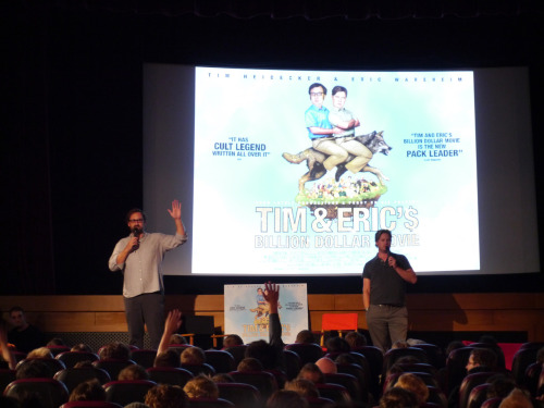 Tim and Eric at their London Q&A for Billion Dollar Movie. It got kind of tense when they turned the whole crowd against one fan who asked a dud-question, which he reacted to with creepy, seething silence, followed by disaffected mumbles and a mopey walk out. Loved it.