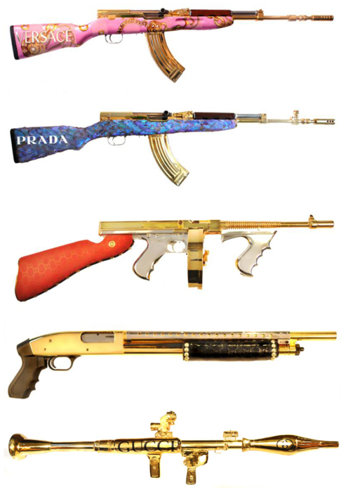 #guns #bling #gold