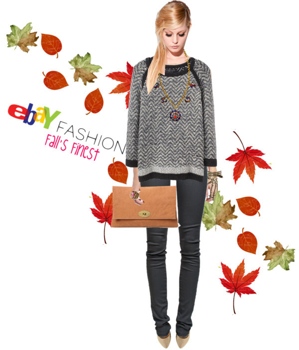 eBay's Polyvore Contest Launches Today: Winner Gets $500 Gift Card by Jauretsi Our contest, Fall's Finest with eBay, has successfully enjoyed its first day with approximately 1,000 Polyvore entries. The rules are simple, just use at least one, two, or three eBay items (found on the contest page), and then whip up your own collage narrative. The image (seen above) was submitted by contestant Kat79 on Day #1. Notice how wisely she incorporated eBay's tan clutch with an organic leafy spirit to illuminate the Fall season.  The competition runs another four days, so log onto eBay's contest page and start curating. I'll be hanging around the site — perusing, commenting, and widdling it down to the final winner. Best collage takes home $500 gift certificate from eBay.   (Photo credits: Rag & Bone knit sweater / Helmut Lang elastic waist pants, $245 / Laugh Cry Repeat silk shorts / Speedo / Pointed toe flat / Joie oversized clutch / Circle pendant necklace / Bernard Delettrez cuff jewelry / Amrita Singh  jewelry / DANNIJO  jewelry / Digital Autumn Leaves , Personal and Small Commercial Use. BP 0295 / Fall Leaf , original watercolor painting of dried leaves in brown and…Fall's Finest with eBay - Oversized Clutch by kat79 featuring a circle pendant necklace)