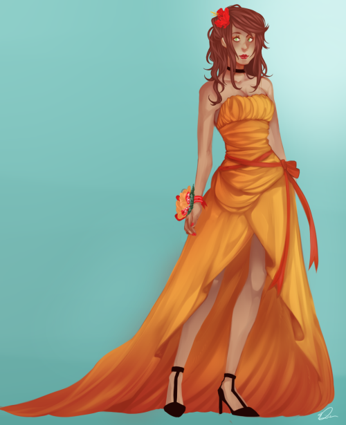 mesopsyclone:  Just a simple dress design/reference as well as practising painting folds and clothing!  Here's a close up of the face because I know it's a little hard to see the details there. I'd like to go ahead and thank Sasha (Zodiacals) for helping me with the colour combination, she was a huge help in the development of the scheme here. Ahh <333  Oh dang, Trunt this is gorgeous.