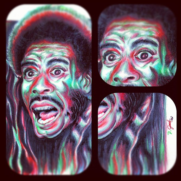 Richard Pryor - King of Comedy I - color pencil on drawing paper - #prismacolor pencil #drawing #painting #colorpencil #black #red #green #comedy #richard #pryor #humor #standup #art #classicjacksonarts  (Taken with Instagram)
