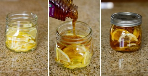 "aggressivelygirlspooky:   Winter sore throat ""tea""- In a jar combine lemon slices, organic honey and sliced ginger. Close jar and put it in the fridge, it will form into a ""jelly"". To serve- spoon jelly into mug and pour boiling water over it. Store in fridge 2-3 months.  i just made this today, without sliced ginger tho, shit's expensive, but hopefully it will turn out well.  this sounds really good i wanna make it +_+"