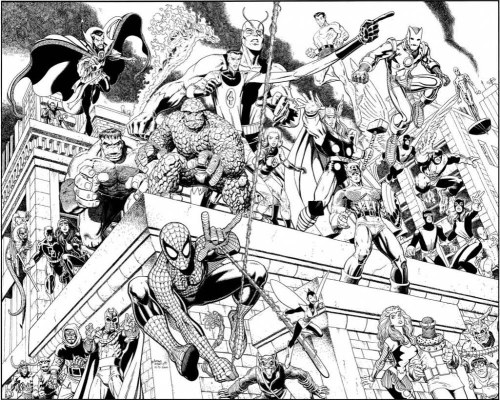 brianmichaelbendis:  The Marvel universe by Art Adams