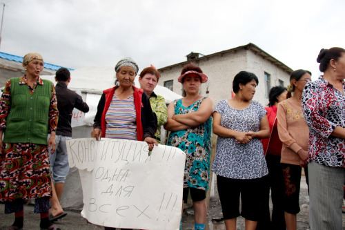 "globalvoices:  In this image Kyrgyz women protest an oil refinery being built by a Chinese company, Jundi.   ""[The Chinese company] aren't just expanding, they are poisoning people. None of this is legal. No kind of sanitary norms are being observed."" Physically bordered, but culturally distant, China's growing economic presence in Kyrgyzstan continues to be a topic for heated discussion in Kyrgyz society. In the country's regions, this discourse is reflected in acrimonious standoffs between Chinese companies and locals, confrontations the mainstream media often fails to report on. Recently, a series of photo and news reports from the ground by youth media organization Kloop.kg have shed light on some of these conflicts, as well as an apparent spike in antipathy towards Chinese investments in the Central Asian republic.  Read 'Kyrgyzstan: China Inc. Under Attack' on Global Voices."