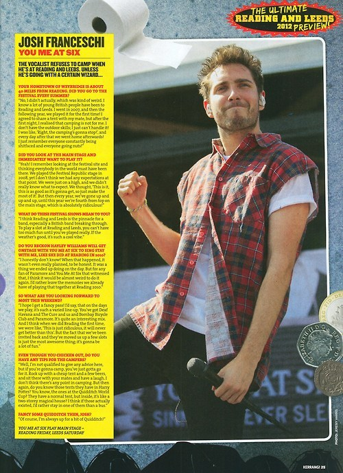 Interview with Josh in this week's Kerrang! talking about Reading and Leeds Festival