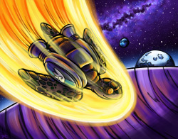 """Space Turtle Prepares for Landing."" Ink & Digital. 2012. Companion piece to ""Song of the Space Turtle."""