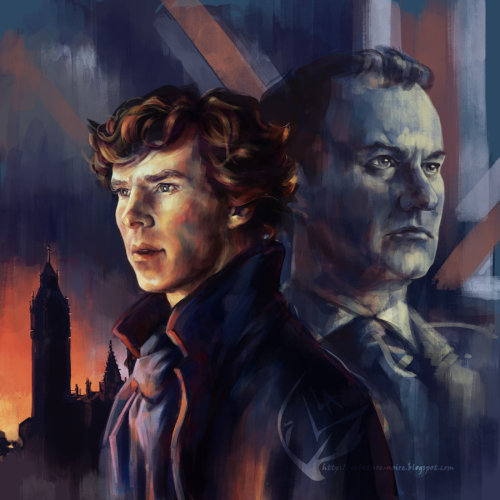 mylittlecornerofsherlock:  alea-lefevre:  The Holmes by ~Alea-Lefevre Finished on livestream tonight !   I love that each is framed by his loyalty, Sherlock and his city/Mycroft and the Empire.