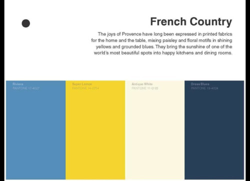 Literary color palettes inspired by famous authors, a clever teaser for Pantone's new book. Pictured here, French Country inspired by Gustave Flaubert.