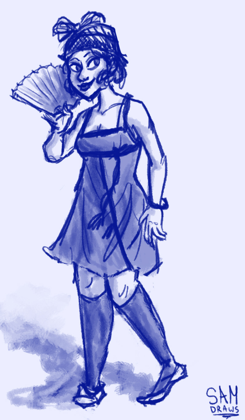 Reading 'the Great Gatsby', doodled this flapper lady and ended up liking it a lot?  I've been practicing drawing directly into Photoshop lately. Ctrl+Z and I are on VERY familiar terms, let me tell you