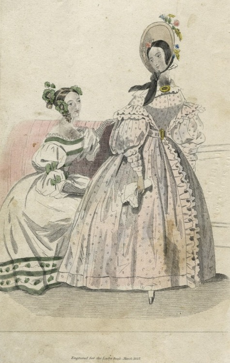 March fashions, 1837 US, Godey's Lady's Book