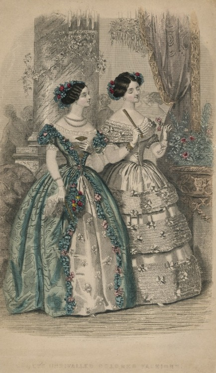 fripperiesandfobs:  oldrags:  March ballgowns, 1839 US, Godey's Lady's Book  1839? Maybe 1849.