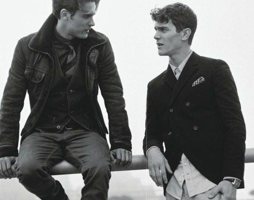 "garcon-portraits:  Jacques Naude and Vincent Lacrocq in Details Magazine ""Perfect Company"""