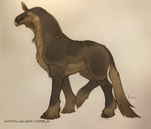 "Digital color on a pencil sketch I did the other night.  Potential ""horse"" creature for a thing."