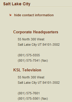"Here's the contact information for Bonneville International's Salt Lake headquarters and KSL TV's.  We should start a letter-writing campaign really soon and drum up enough support for a call-in sometime in the next week to let the people who run this network know that it's not okay to censor homosexuality or equate gay parenting with crudeness, explicit content, and ""offensive characterization."" And, I mean, tell them to air the damn show."