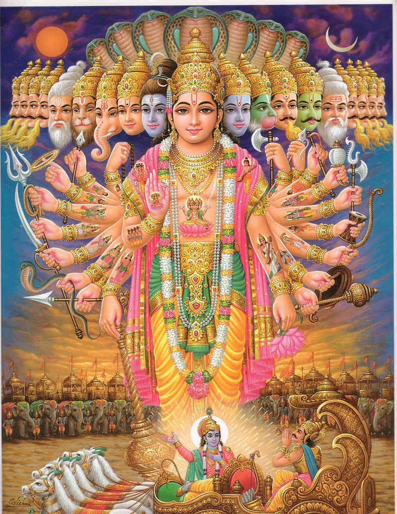 The Preserver Vishnu is one of the principal Hindu deities, worshiped as the protector and preserver of the world and restorer of dharma (moral order). He is the husband of Lakshmi, and is part of the trinity between he, Shiva, and Brahma. He is known chiefly through his avatars (incarnations), particularly Rama, Krishna and Buddha. In theory, Vishnu manifests a portion of himself anytime he is needed to fight evil, and his appearances are innumerable; but in practice, ten incarnations are most commonly recognized. Vishnu appears to be a prime example of how older gods and cults have been absorbed into Hinduism. Thought to be linked with an earlier sun god, Vishnu's ten incarnations may also be examples of older gods that have been amalgamated. Below is a list of Vishnu's ten reincarnations. Matsya the Fish - Saved humanity and the sacred Veda text from the flood. Kurma the Turtle - Helped create the world by supporting it on his back. Varaha the Boar - Raised the earth out of water with his tusks. Narashima, half-man, half lion - Destroyed a tyrant demon king. Vamana the Dwarf - Subdued king Bali, a powerful demon. Parashurama the Brahmin - Destroyed the warrior caste. Rama - Rescued his with Sita and killed the demon Ravana. Krishna - told the Epic poem Bhagavad-Gita to the warrior Arjuna. Buddha - The enlightened one. Kalki the Horse - Yet to come to the earth.