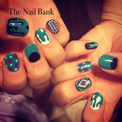 thenailbank:  Crazies, nail art experimenting ;) (Taken with Instagram)