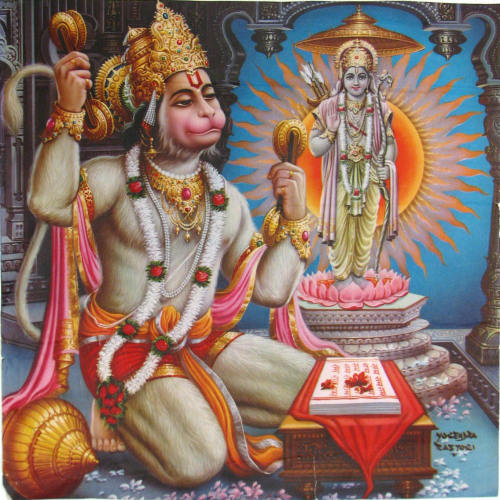 arghandrawr:  Hanuman is one of the most important personalities in the epic, the Ramayana. He is a vanara who aided Lord Rama, an avatar of Vishnu, in rescuing His Consort, Sita, from the Demon king, Ravana. Vanaras are ape-like humanoids, who were created by Brahma and other gods to help Rama in battle against Ravana. Hanuman is the son of Vayu, the Hindu God of Wind, and is looked upon by Hindus as the ultimate hero and great devotee of Lord Rama of the Ramayana. He represents the figure of the ideal being, as he is humble yet brave. His physical prowess, mental discipline and spiritual purity have made him extremely popular all over India. He is a provider of courage, hope, knowledge, intellect and devotion. He is pictured as a robust monkey holding a mace or gada, which is a sign of bravery, and having a picture of Lord Rama tattooed on his chest, which is a sign of his devotion to Lord Rama. He is also called Mahaveera (the great hero) or Pavan-suta (son of air) or Bajarangbali. In Tamil Nadu he is known as Anjaneya.