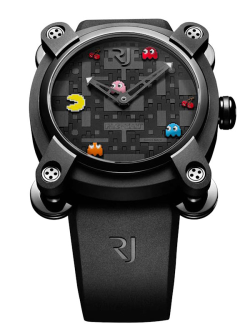it8bit:  Pac-Man Watch Another timepiece by RJ-Romaine Jerome. Only 80 watches will be created in this limited edition series. The design will be launched at the Colette store in Paris on September 3. Each watch will contain steel fused with parts of the Apollo 11 AND low oxidation silver fused with moon rocks!! Get in line and pick one up for $17,900 USD.
